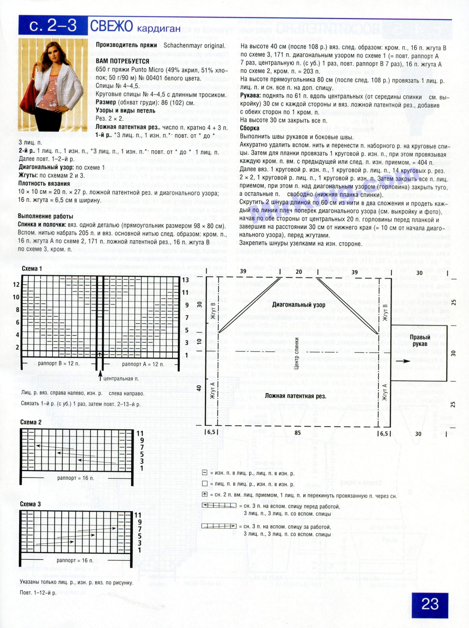 Схема вязания кардигана лало 42 размера