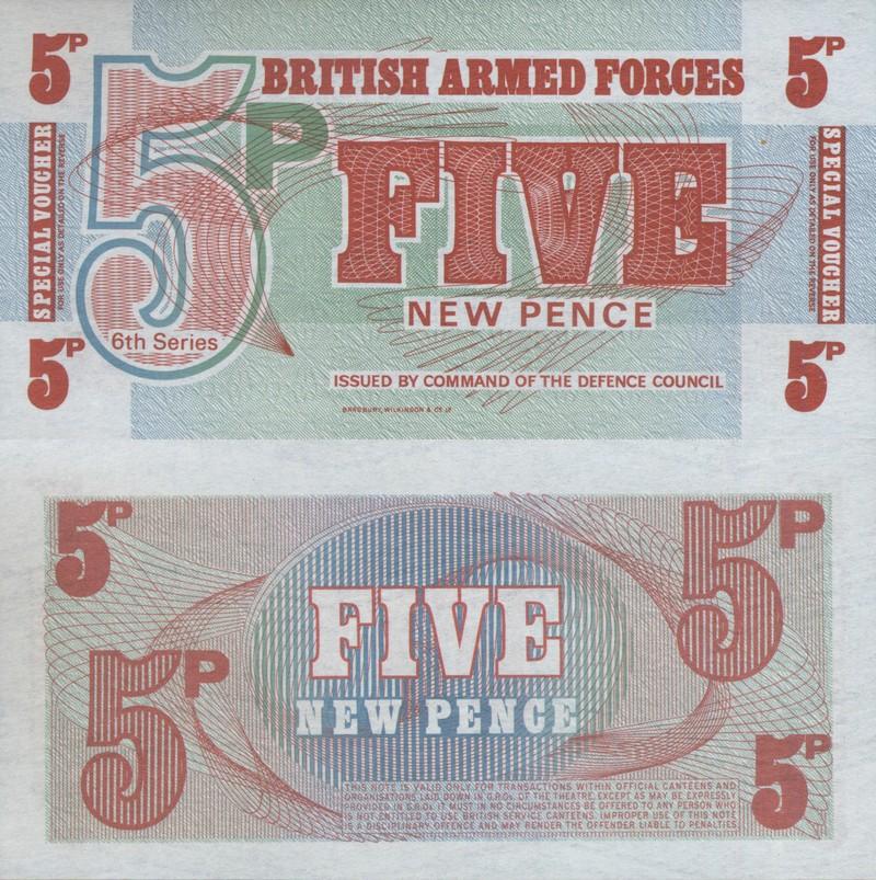 Монеты и купюры мира №98 5 новых пенсов Британских ВС