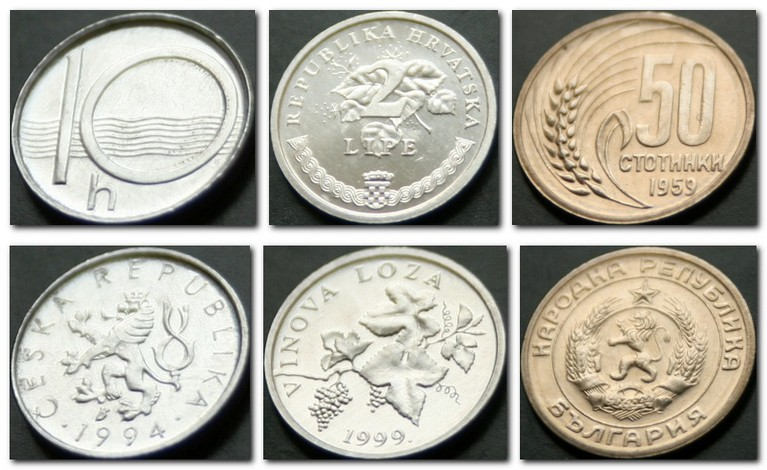 Монеты и купюры мира №102 10 геллеров (Чехия), 2 липы (Хорватия), 50 стотинок (Болгария)
