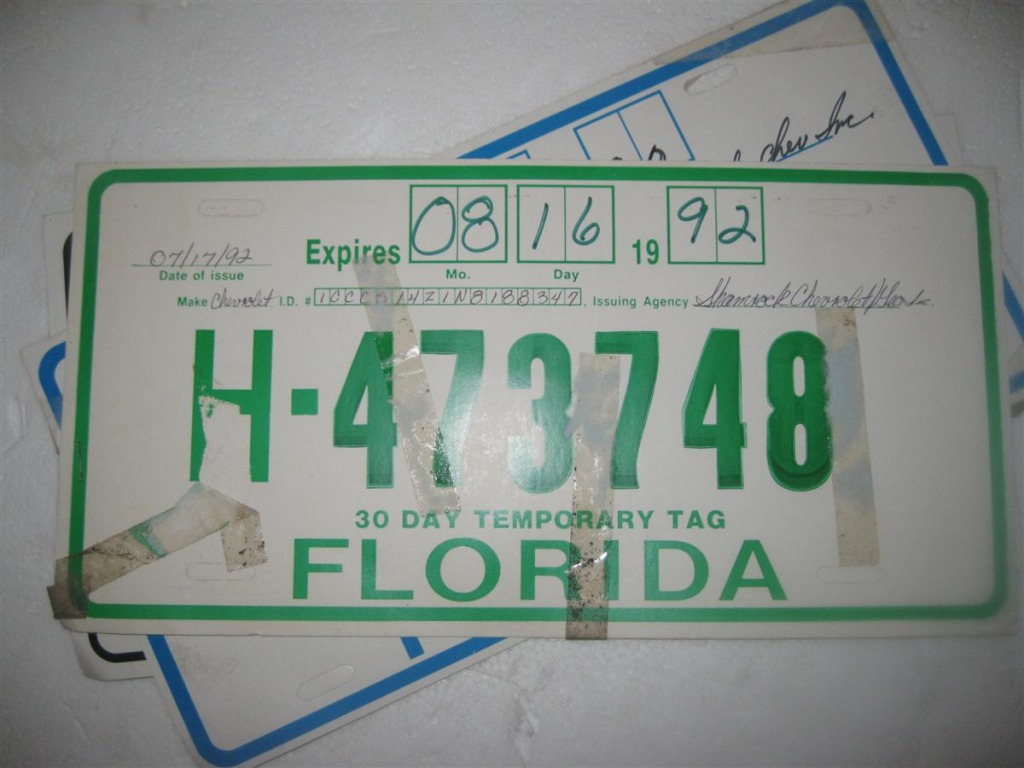 Temporary license plates of the USA / Транзитные номера США