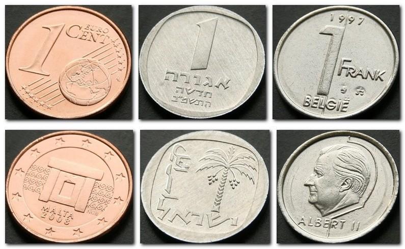 Монеты и купюры мира №107 1 евроцент (Мальта), 1 новая агора (Израиль), 1 франк (Бельгия)