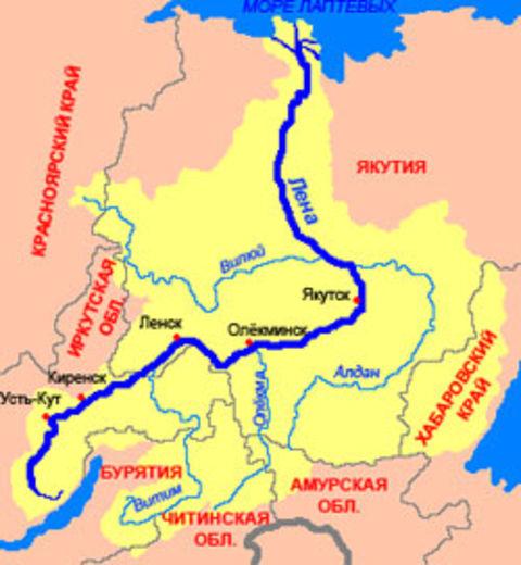 Река лена где находиться на карте