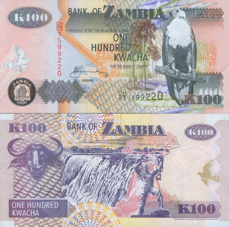 Монеты и купюры мира №135 100 квач (Замбия)