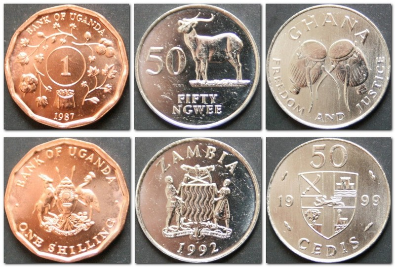 Монеты и купюры мира №142 1 шиллинг (Уганда), 50 нгве (Замбия), 50 седи (Гана)