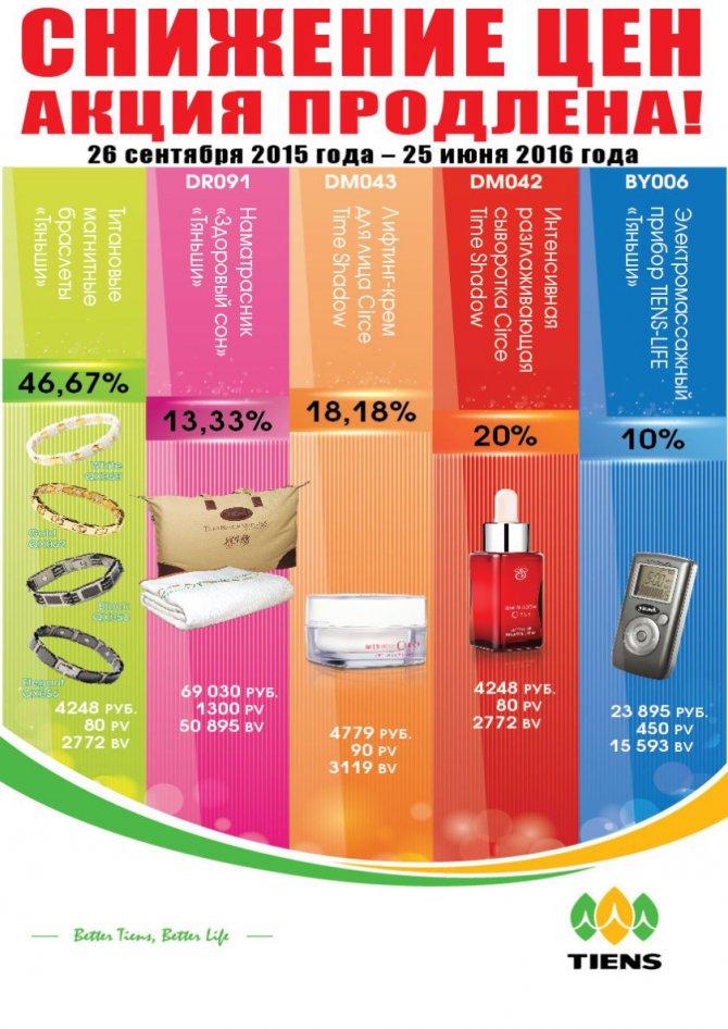 Скидки на продукцию Тяньши  - до 47%