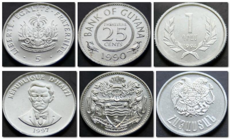 Монеты и купюры мира №155 5 сантимов (Гаити), 25 центов (Гайана), 1 драм (Армения)