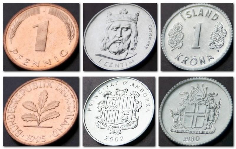 Монеты и купюры мира №145 1 пфенниг (Германия), 1 сентим (Андорра), 1 крона (Исландия)