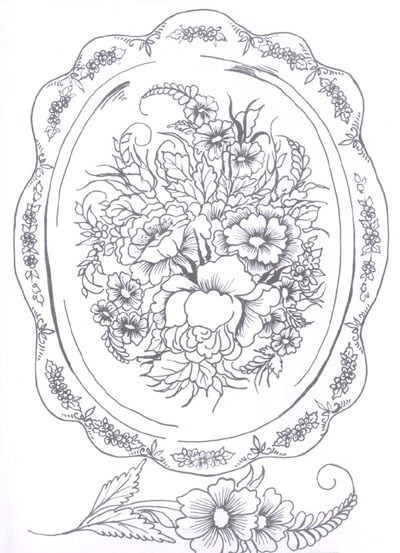 Раскраска жостовская роспись скачать