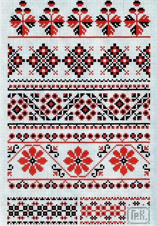 Схема вышивки крестом украинские орнаменты