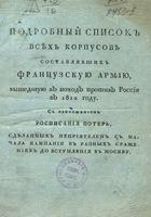 Подробный список всех корпусов составлявших французскую армию, вышедшую в поход против России в 1812 году