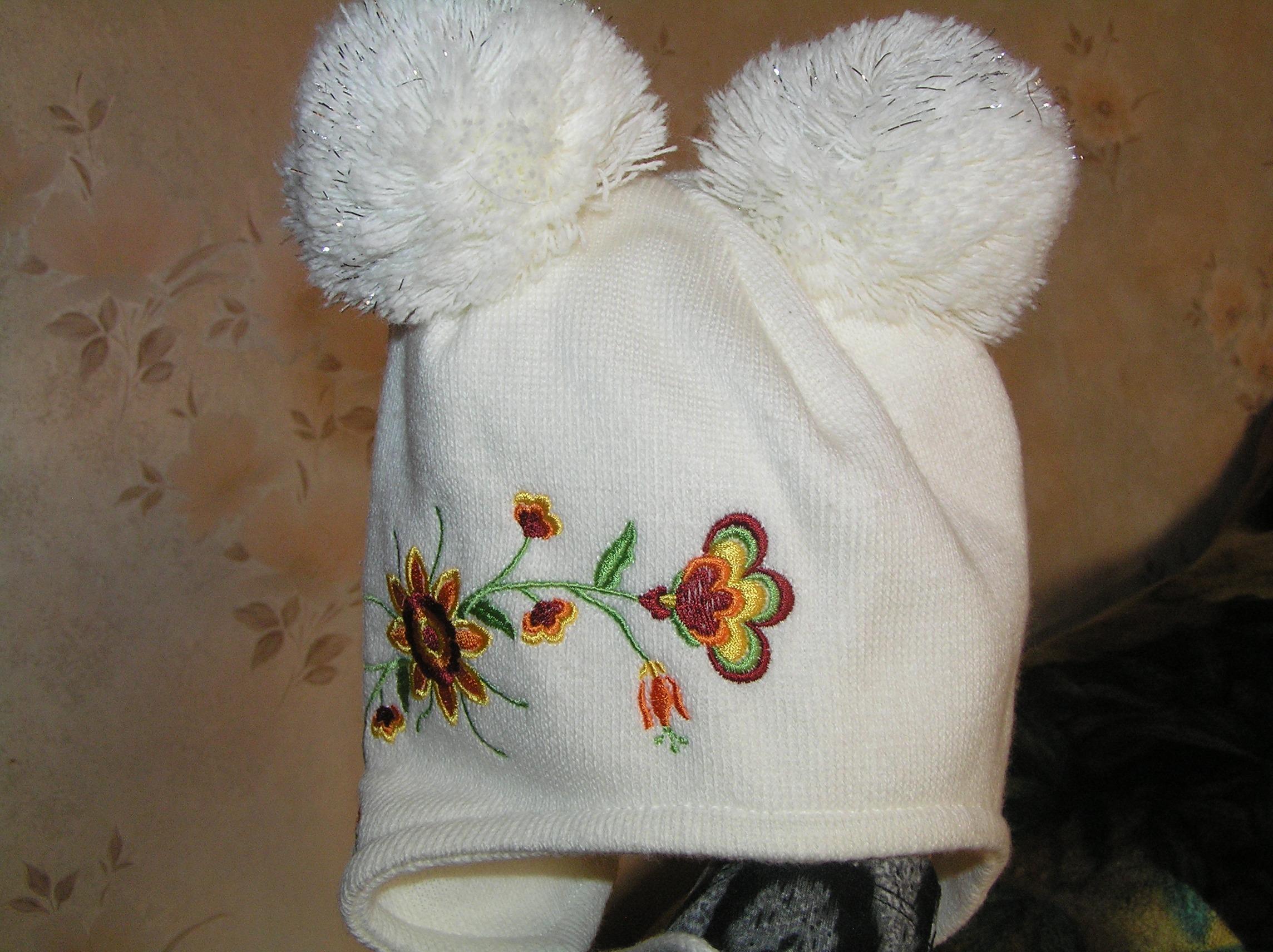 Вязание осенней шапки для девочек 48
