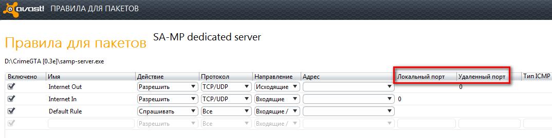 как открыть порт в Avast! Internet Security?