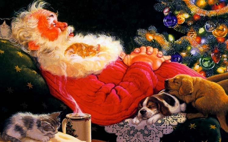 Новый год Дед Мороз Обои рабочий стол