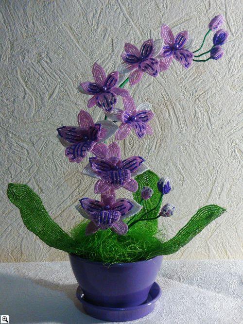 Моя новая работа-орхидея из бисера, высота 40 см. в керамическом горшке.  Сделана на заказ.