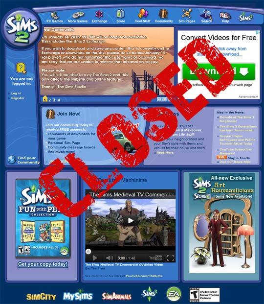 сайт симс 3 закрывается