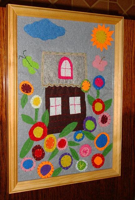 Картина панно рисунок День рождения Аппликация Картина из фетра Дом в цветах Ткань.  Запросить новый пароль по...