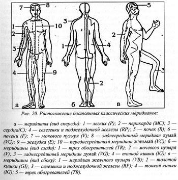 Восточная медицина:  Постоянные классические меридианы