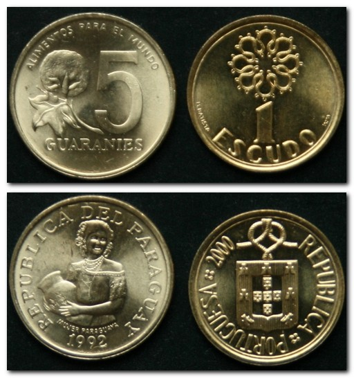 Монеты и купюры мира №11 5 гуарани (Парагвай), 10 сенти (Танзания), 1 эскудо (Португалия)