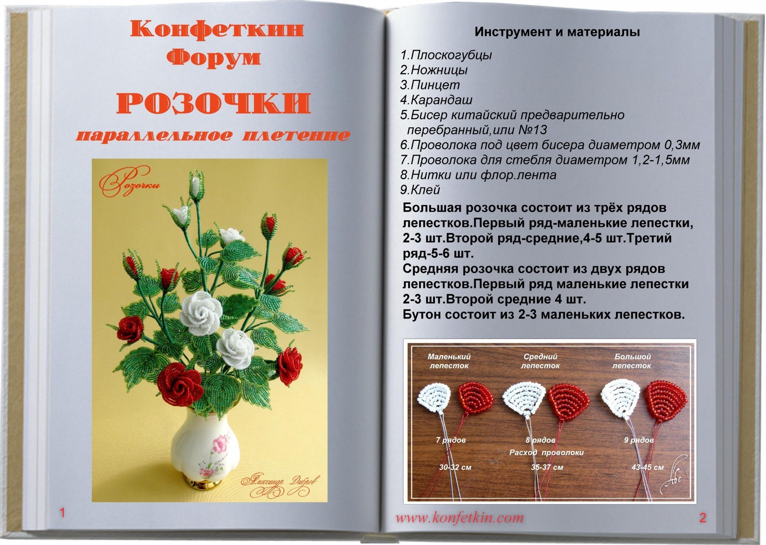 Схемы для плетения из бисера цветы розы