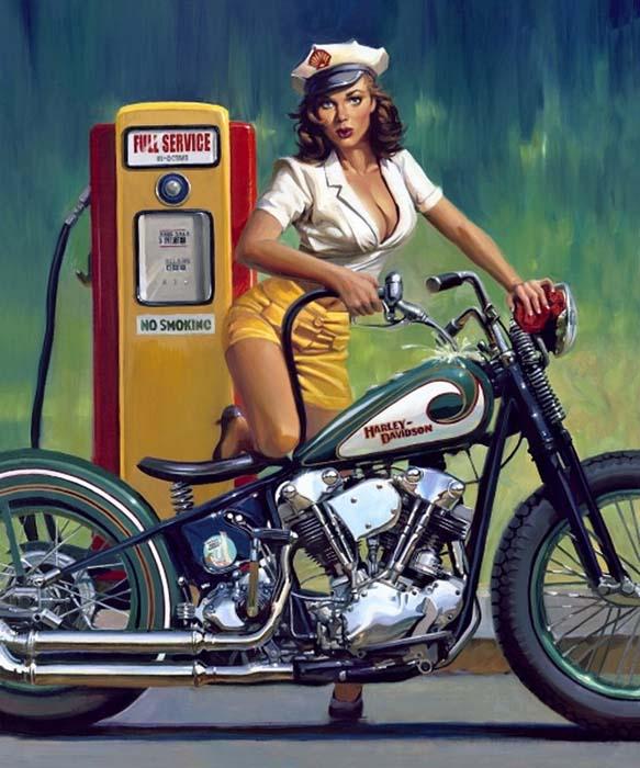 Графика Арт Искусство Байкеры Мотоциклы