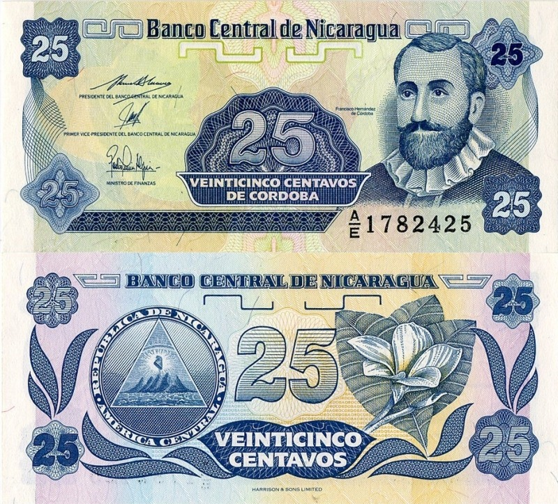 Монеты и купюры мира №24 25 сентаво (Никарагуа)