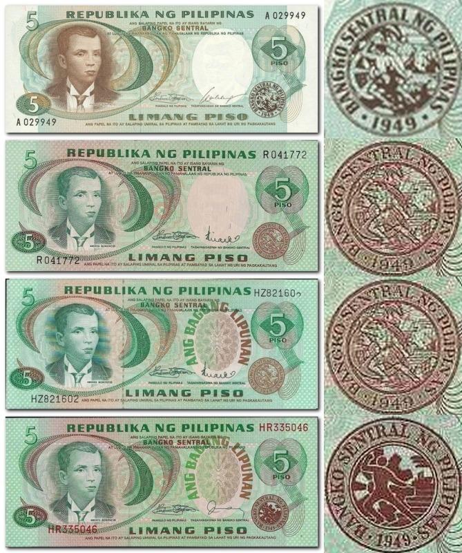 Монеты и банкноты №75  5 песо (Филиппины), 1 цент (Зимбабве)