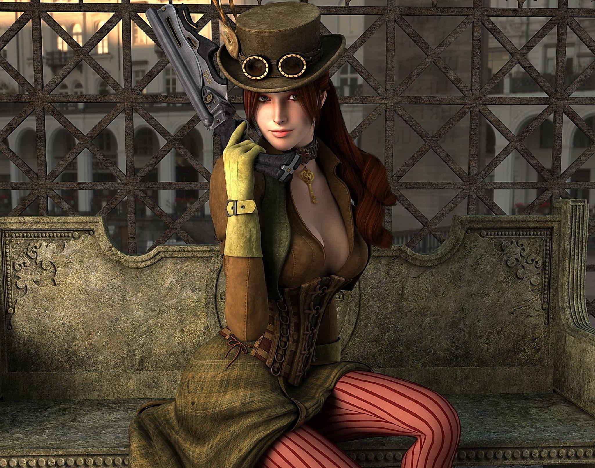 Рисунки девушек с оружием 8 фотография