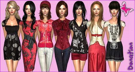 Mods Моды (набор скинов) прически,одежда и аксессуары к игре Симс-2 (The Si