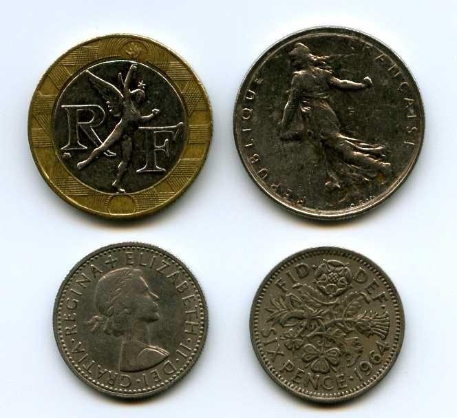 Монеты и банкноты №88 6 пенсов (Великобритания), 1 франк/ 10 франков (Франция)
