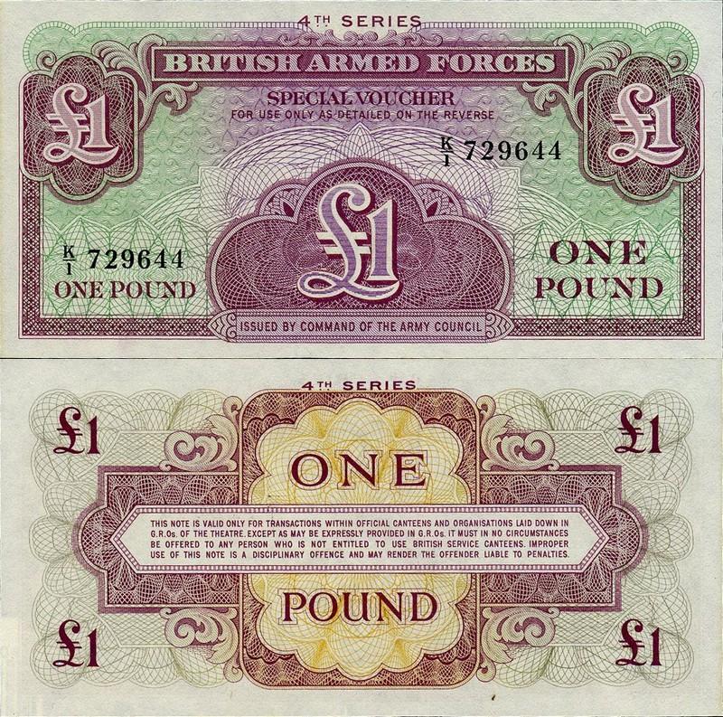 Монеты и купюры мира №40 1 фунт Британских ВС