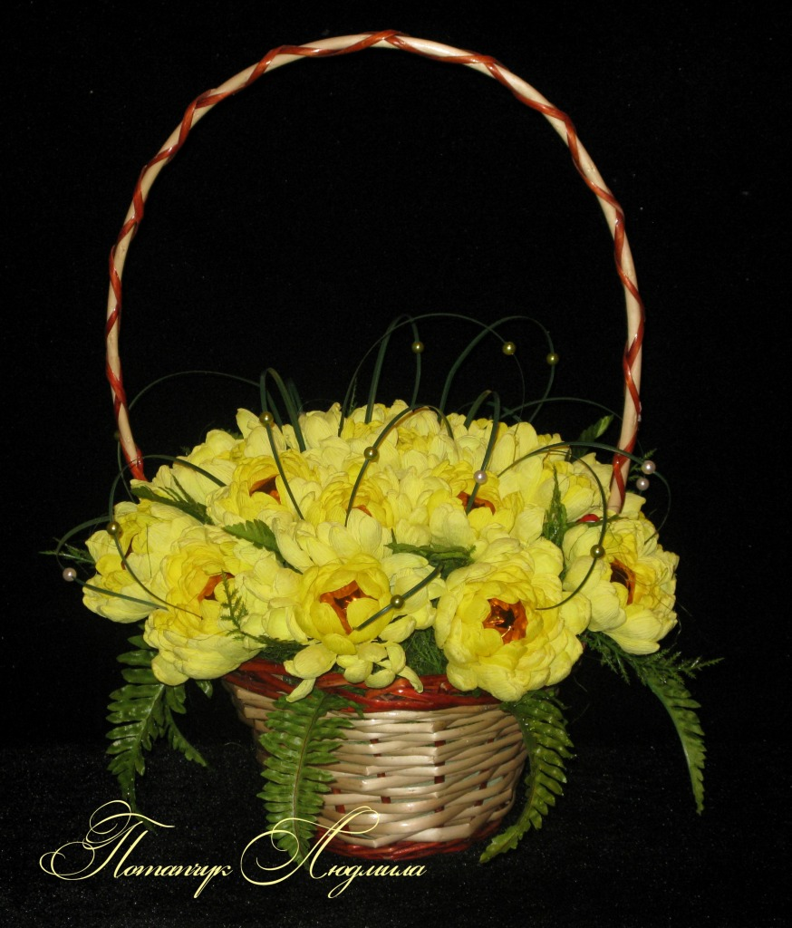 Хризантемы с конфетами своими руками