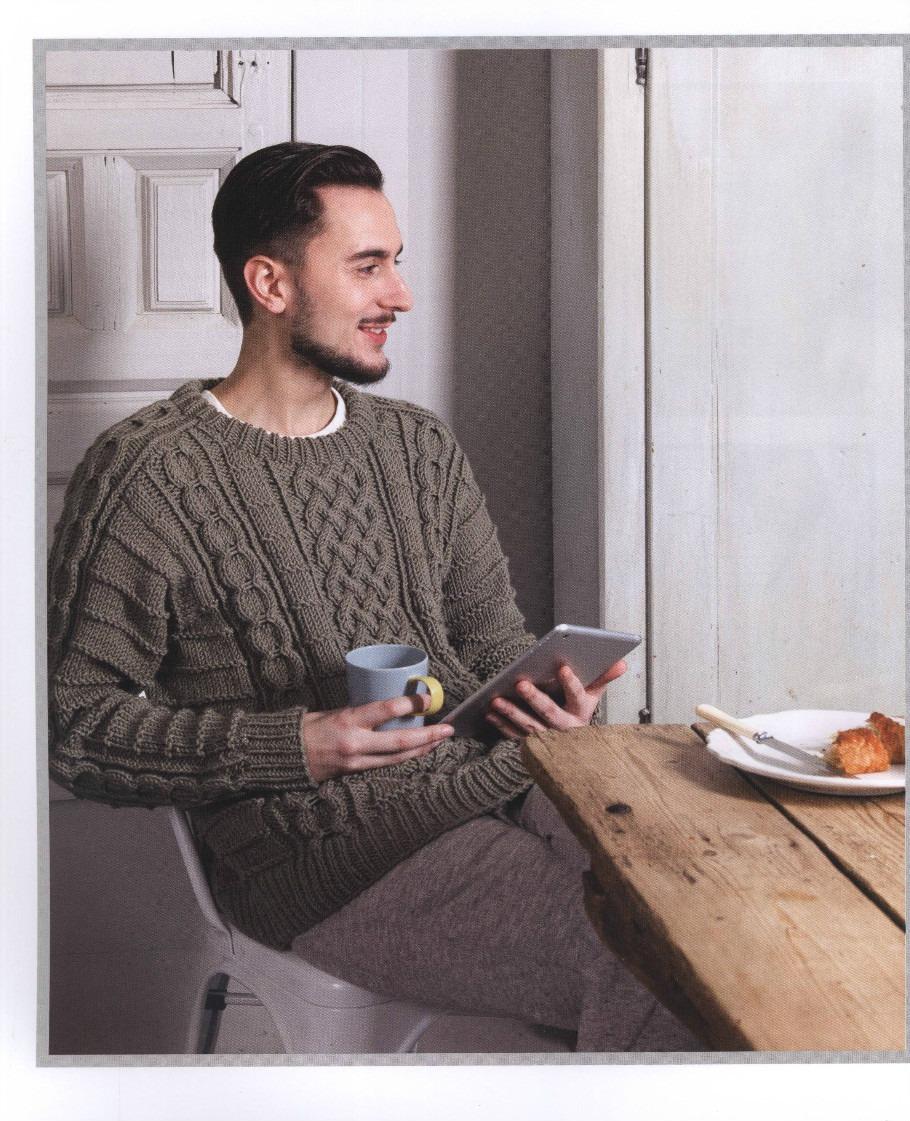 мужской свитер с аранами схема вязания