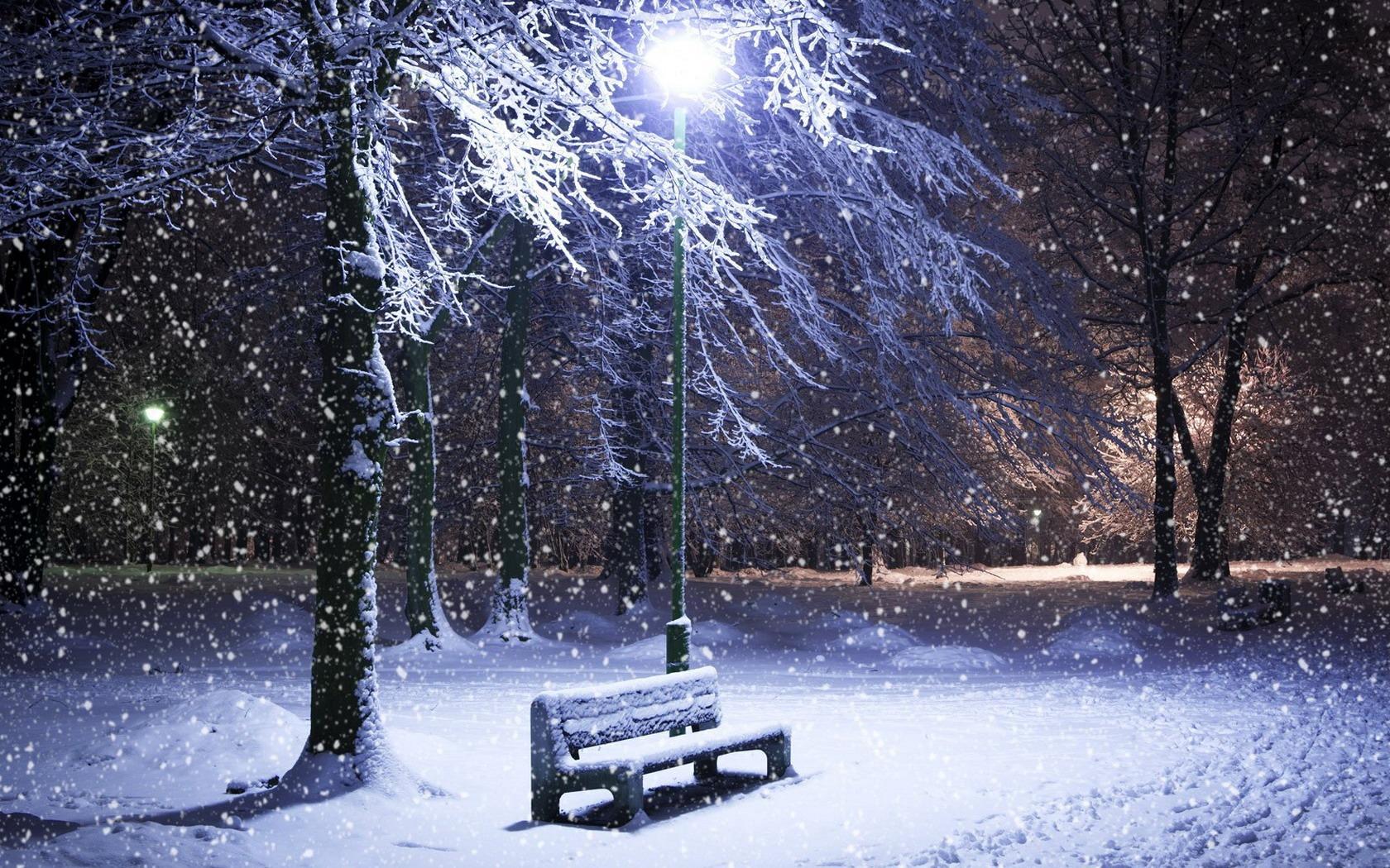 Обои снег вечер деревья автомобиль новый год зима