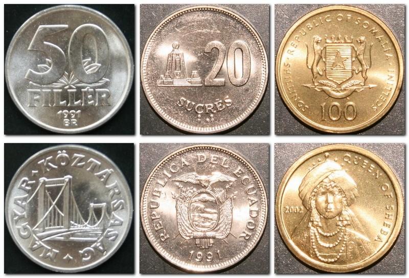 Монеты и купюры мира №46 50 филлеров (Венгрия), 20 сукре (Эквадор), 100 шиллингов (Сомали)