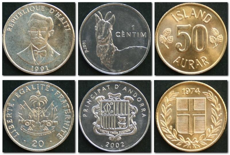 Монеты и купюры мира №56 - 20 сантимов (Гаити), 1 сентим (Андорра), 50 эйриров (Исландия)
