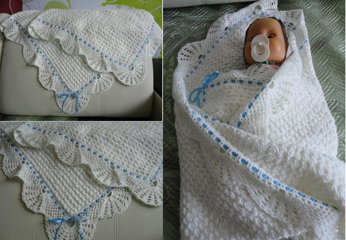 Вязание пледа для новорожденных 46