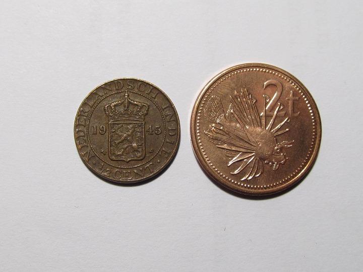 Монеты и банкноты №36 2 тое (Папуа-Новая Гвинея), 1 цент (Нидерланды)