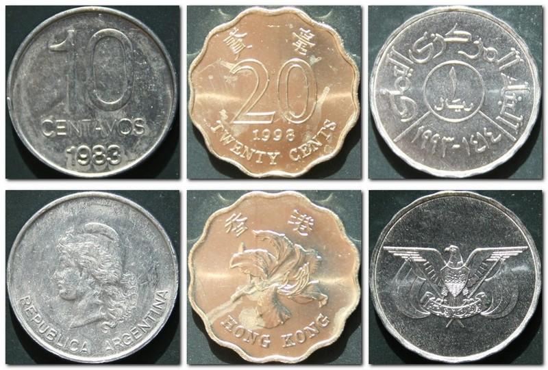 Монеты и купюры мира №72 10 сентаво (Аргентина), 20 центов (Гонконг), 1 риал (Йемен)