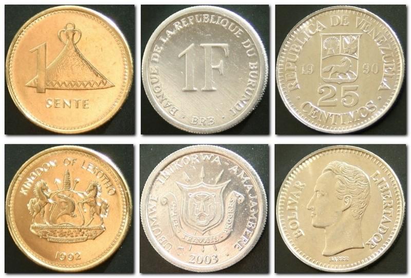 Монеты и купюры мира №75 1 сенте (Лесото), 1 франк (Бурунди), 25 сентимо (Венесуэла)