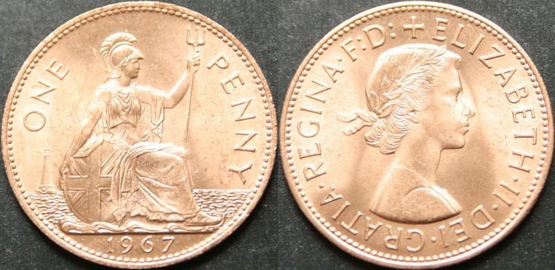 Монеты и банкноты №129 10 песо (Мексика), 1 пенни (Великобритания)