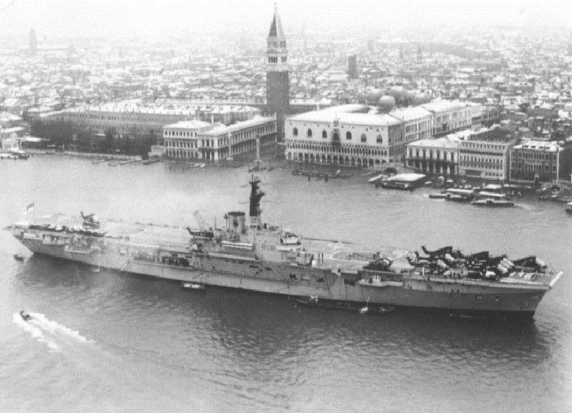1971: HMS Bulwark R-08 in Venice, Italy.