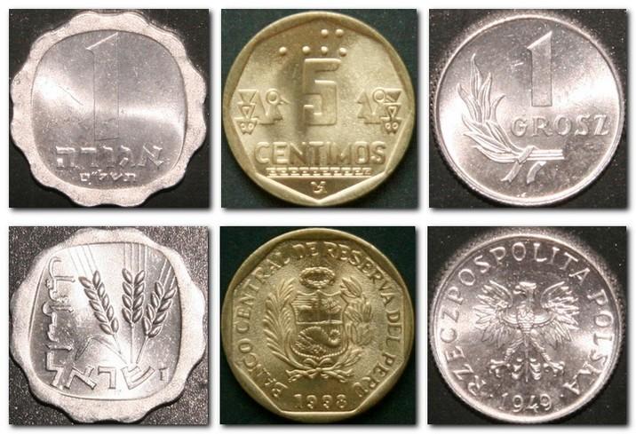 Монеты и купюры мира №90 1 агора (Израиль), 5 сентимо (Перу), 1 грош (Польша)