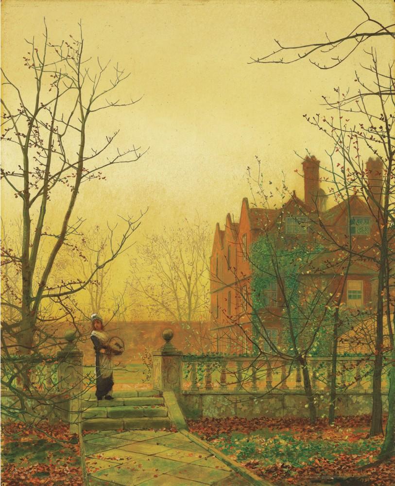 Обои улица, Джон Эткинсон Гримшоу, Пейзаж, John Atkinson Grimshaw, осенний вечер, картина. Разное foto 12