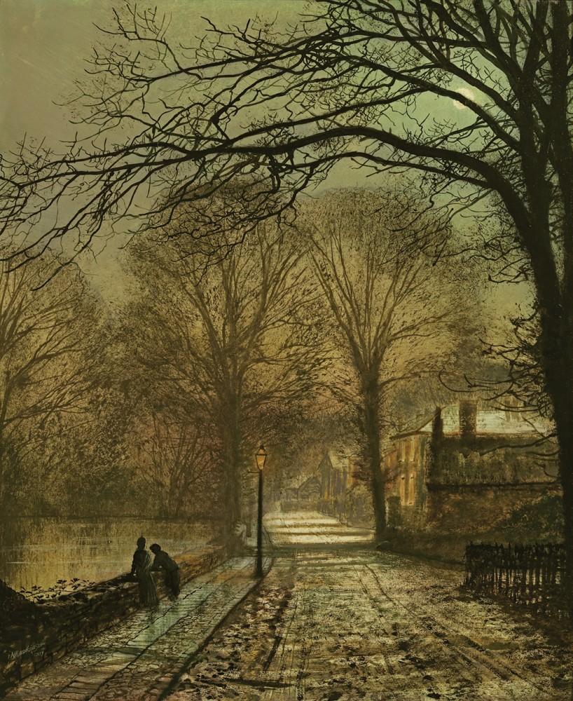 Обои улица, Джон Эткинсон Гримшоу, Пейзаж, John Atkinson Grimshaw, осенний вечер, картина. Разное foto 11
