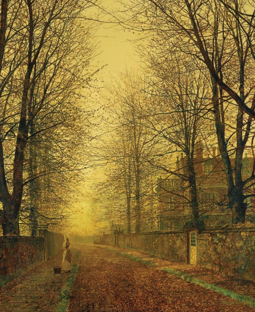 Обои улица, Джон Эткинсон Гримшоу, Пейзаж, John Atkinson Grimshaw, осенний вечер, картина. Разное foto 9