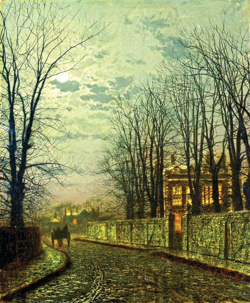 Обои улица, Джон Эткинсон Гримшоу, Пейзаж, John Atkinson Grimshaw, осенний вечер, картина. Разное foto 14