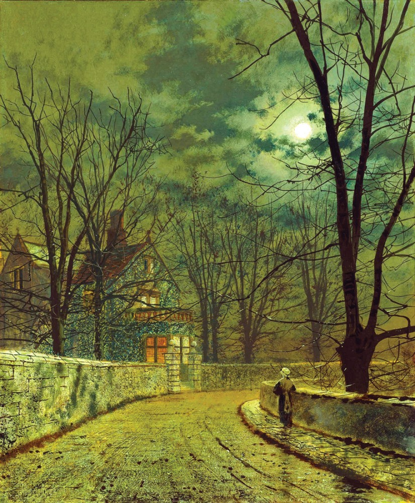 Обои улица, Джон Эткинсон Гримшоу, Пейзаж, John Atkinson Grimshaw, осенний вечер, картина. Разное foto 7