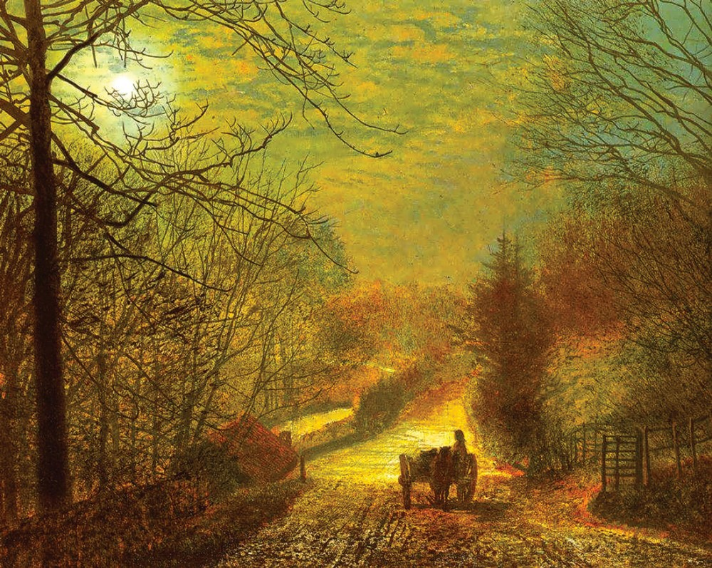 Обои улица, Джон Эткинсон Гримшоу, Пейзаж, John Atkinson Grimshaw, осенний вечер, картина. Разное foto 13
