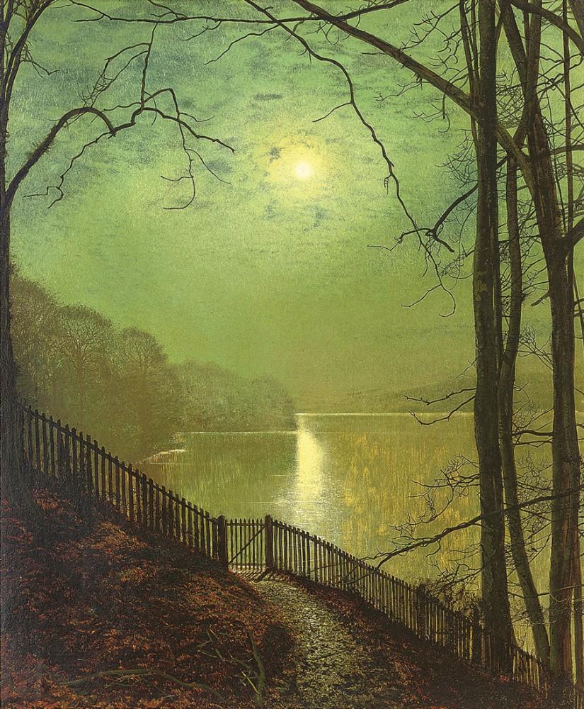Обои улица, Джон Эткинсон Гримшоу, Пейзаж, John Atkinson Grimshaw, осенний вечер, картина. Разное foto 16