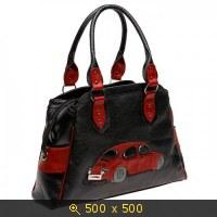 Два кармана по бокам сумки.  Большая эффектная сумка из натуральной кожи с аппликацией Машина-Жук.  KS-0094-B.